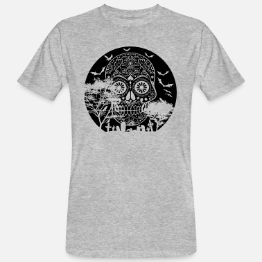 Sugar Happy Halloween Sugar Skull Graveyard Volle maan 3 - Mannen Bio-T-shirt