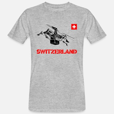 Gondola Switzerland / Switzerland with mountains and gondola - Men's Organic T-Shirt