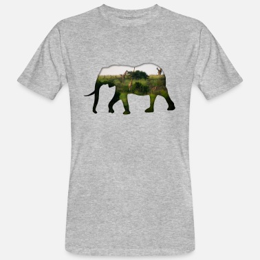 Elephant - Steppe Double Exposure Effect - Men's Organic T-Shirt
