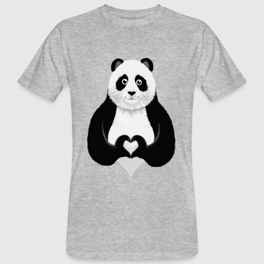 Cute Panda Heart Hand Sign - Mannen Bio-T-shirt
