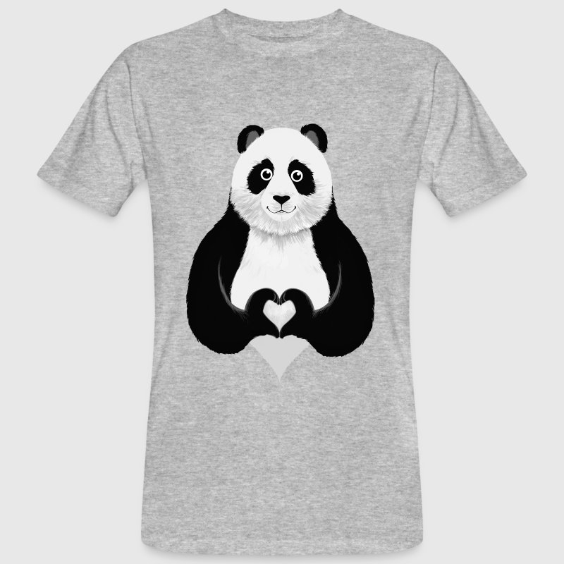 Cute Panda Heart Hand Sign - T-shirt ecologica da uomo