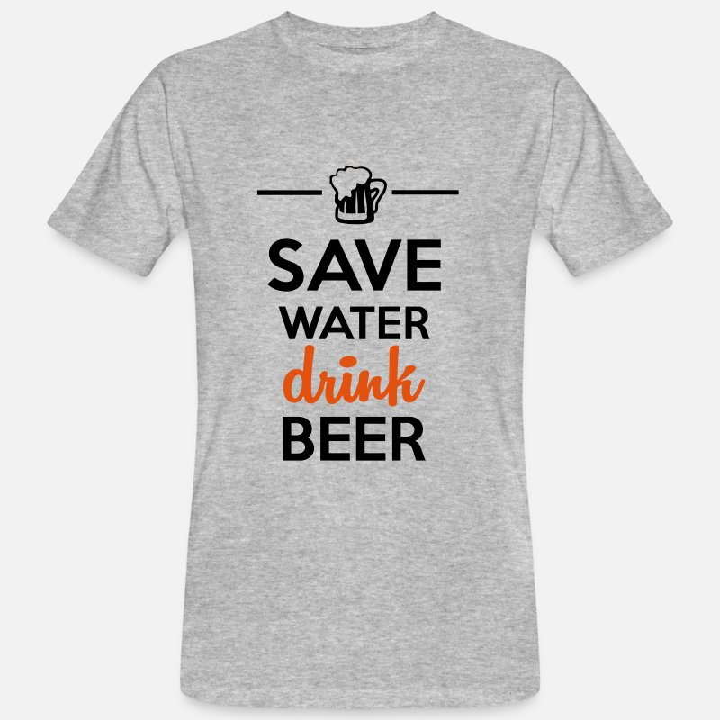 Sjove T-shirt - Alkohol Fun Shirt  - Save Water drink Beer - Herre økologisk T-shirt grå meleret