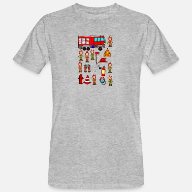 Cartoon Fire Fire Department Car Firefighter Children Cartoon Comic - Økologisk T-shirt mænd