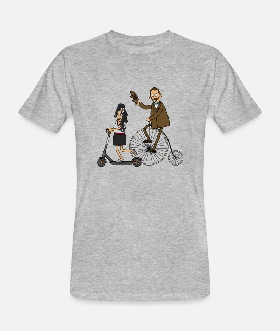 Hipster T-Shirts - Cyclists and e-scooters - light surface - Men's Organic T-Shirt heather grey