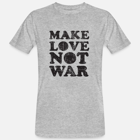 S'aimer T-shirts - Peace Make Love Not War Vintage - T-shirt bio Homme gris chiné