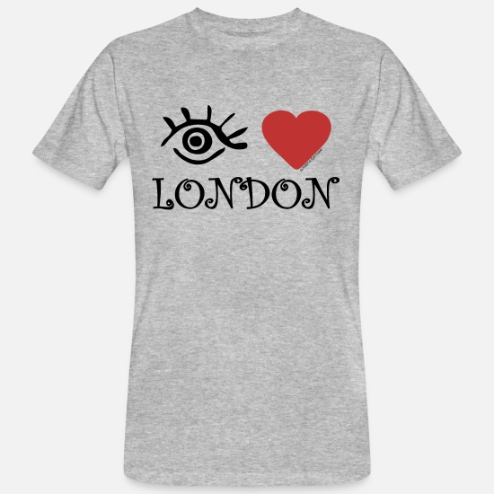 Love T-Shirts - Eye-Love 'London' - Men's Organic T-Shirt heather grey