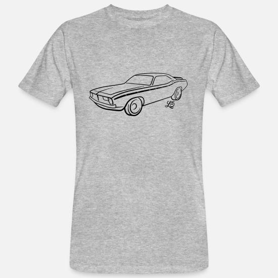 Auto T-Shirts - US Dream Car - V8 - American Steel - Männer Bio T-Shirt Grau meliert