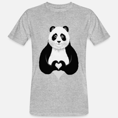 Valentines Day Cute Panda Heart Hand Sign - Men's Organic T-Shirt