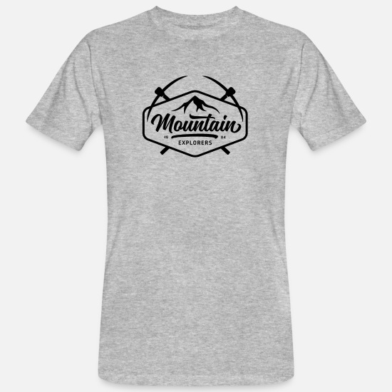 Nature T-shirts - Cadeau d'explorateurs de montagne - T-shirt bio Homme gris chiné