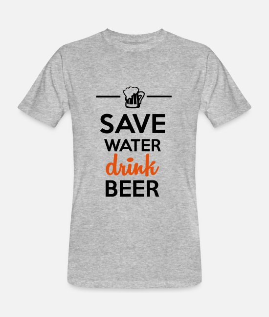 Water T-shirts - Alkohol Fun Shirt - Save Water drink Beer - Økologisk T-shirt mænd grå meleret