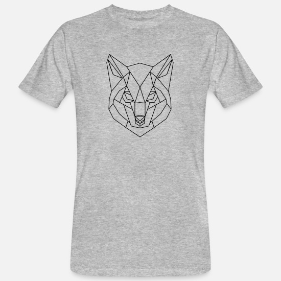 Wolf T-shirts - Loup 3D Low Wolf Wolf Polygon Wolf Low 3D - T-shirt bio Homme gris chiné