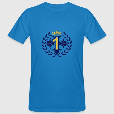 The Number One with a laurel wreath and crown - Men's Organic T-shirt