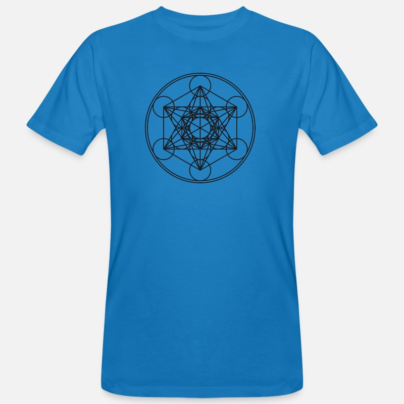 Mathematics T-Shirts - Metatrons Cube Sacred Geometry Flower Life Science - Men's Organic T-Shirt peacock-blue