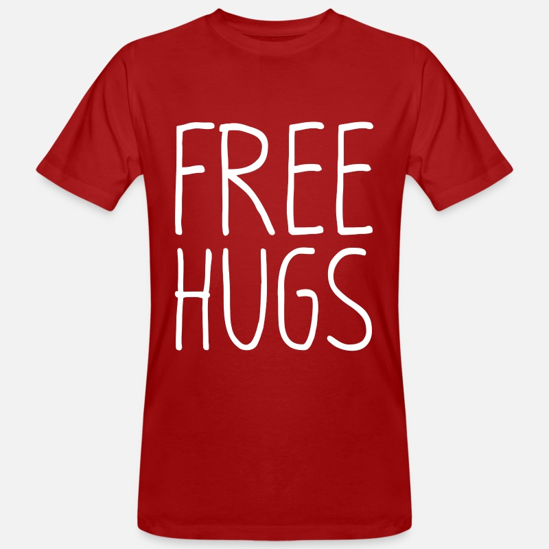 Love T-Shirts - FREE HUGS T-shirt - Men's Organic T-Shirt dark red