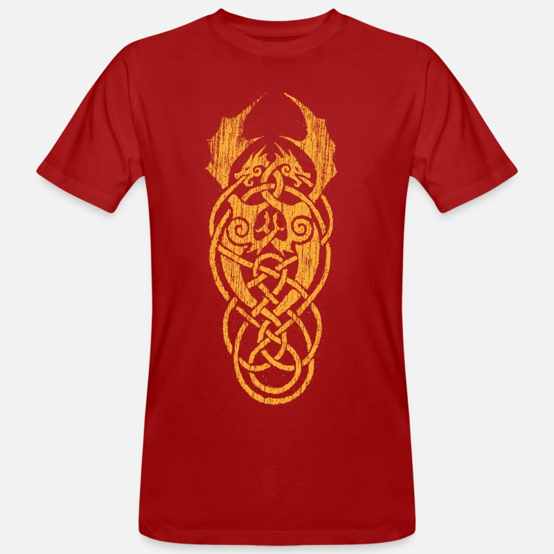 Dragon T-shirts - dragon celtique jaune - T-shirt bio Homme rouge foncé