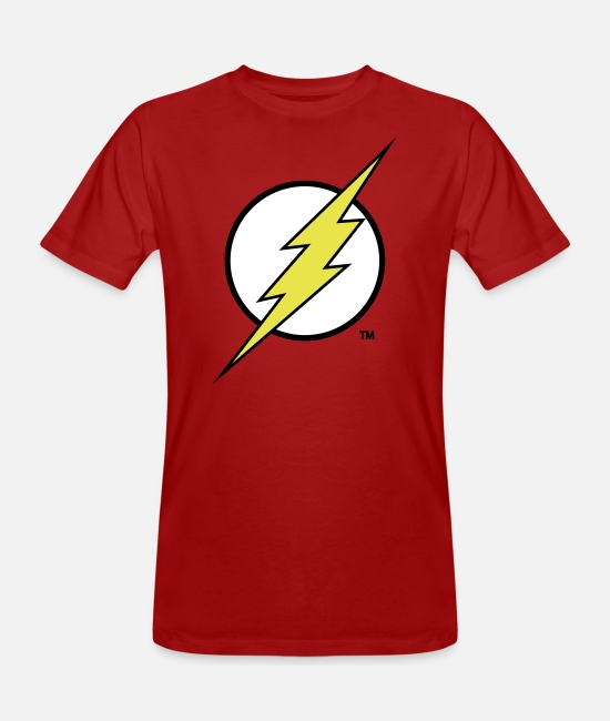 Superhelden T-Shirts - Justice League Flash Logo - Männer Bio T-Shirt Dunkelrot