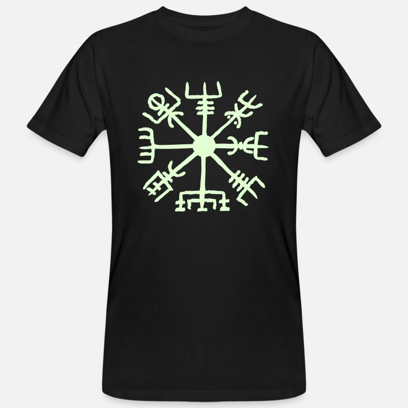 Bretagne T-shirts - Vegvisir, Magic, Runes,  Protection & Navigation - T-shirt bio Homme noir