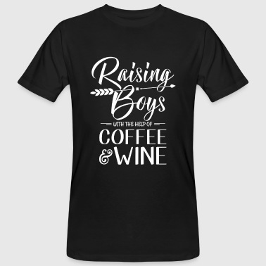 Raising Boys with the help of Coffee & Wine - T-shirt ecologica da uomo