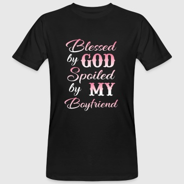 Blessed by god spoiled by my boyfriend - T-shirt ecologica da uomo