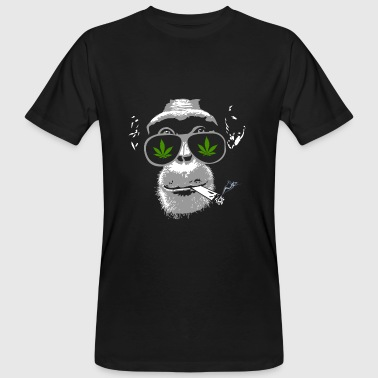 Chimpanzee with joint - Marijuana - Männer Bio-T-Shirt
