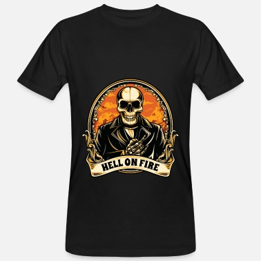 Motorcycle Flaming Skull Halloween skull hell in flames vintage - Men's Organic T-Shirt