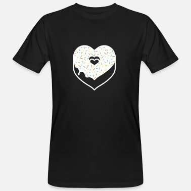 Huidge Doughnut Heart Sprinkles Topping Valentine Holiday - Mannen Bio-T-shirt