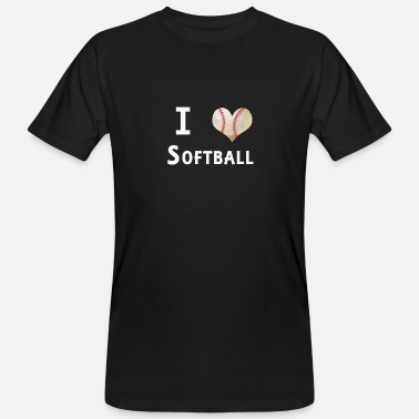 I Love Softball I Love Softball Heart Ball Fan Designs - Men's Organic T-Shirt