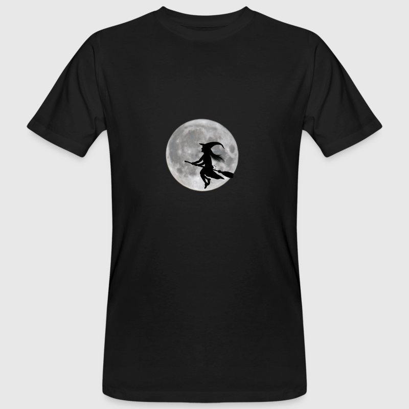 Flying witch in front of moon - Men's Organic T-shirt