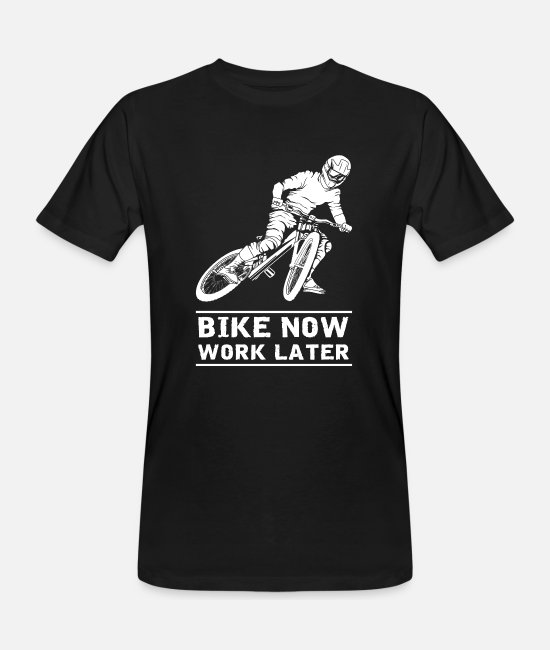Bicicleta Camisetas - Bike Now Work Later - Camiseta orgánica hombre negro