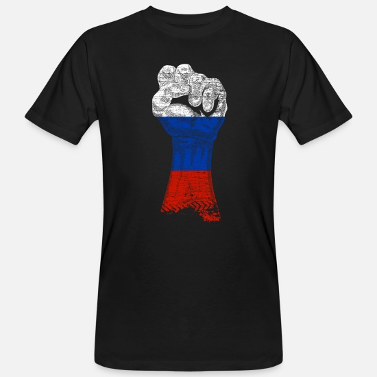 Putin T-Shirts - Russia flag country Putin Moscow fist revolution - Men's Organic T-Shirt black