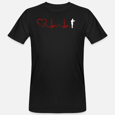 Fiddlestick Violin Heartbeat And Heart - Men's Organic T-Shirt