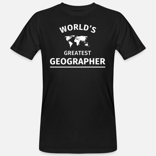 Reis T-shirts - World's Greatest Geographer - Mannen bio T-shirt zwart