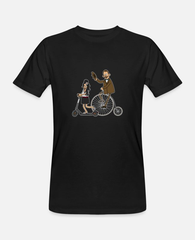 Hipster T-Shirts - Cyclists and e-scooters - dark underground - Men's Organic T-Shirt black