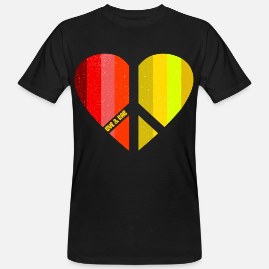 Peace Sign T-Shirts - Peace Heart (Love Four Edition) - Men's Organic T-Shirt black
