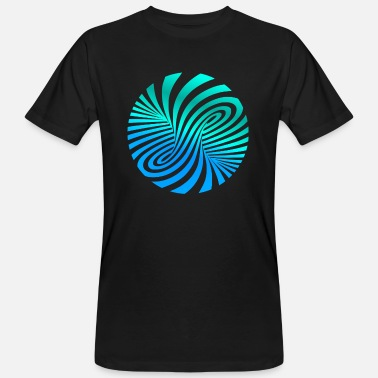 Optical Illusion psychedelic optics illusion turquoise optical art 60s - Men's Organic T-Shirt