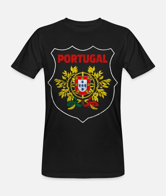Cartography T-Shirts - Portugal National Symbol National Colors Coat of Arms World - Men's Organic T-Shirt black