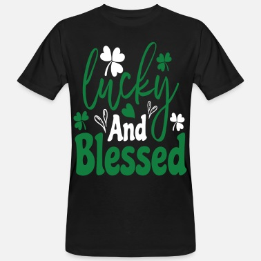 St. Patrick`s Day saying 2021 lucky and blessed - Men's Organic T-Shirt
