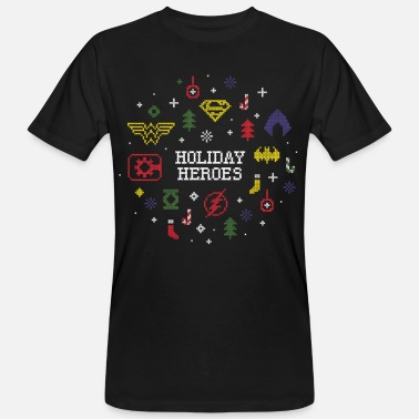 Justice League Holiday Heroes Ugly X-Mas - Männer Bio T-Shirt