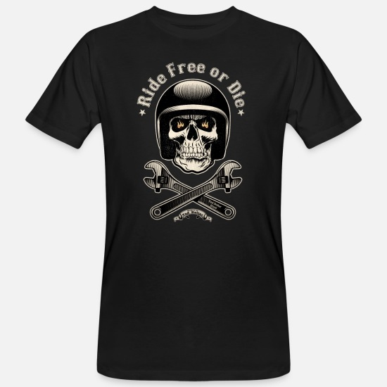Bikes And Cars Collection V2 T-Shirts - Ride free or die vintage - Men's Organic T-Shirt black