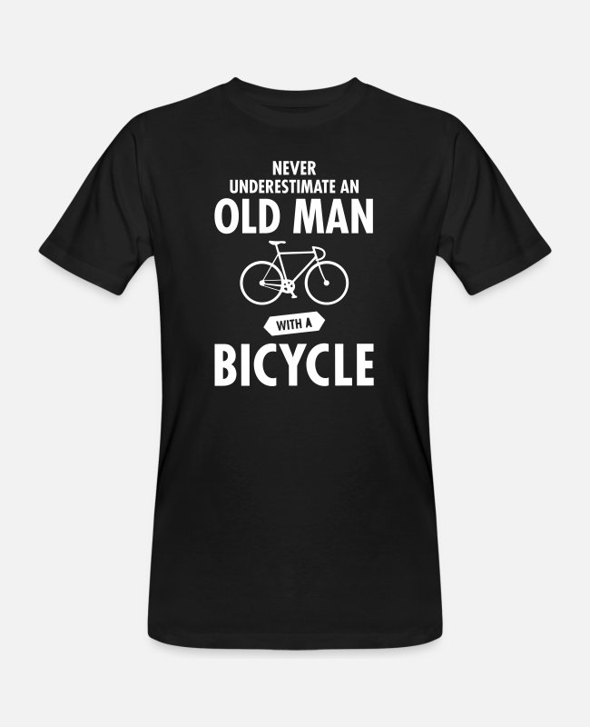 Pension T-shirts - Never Underestimate An Old Man With A Bicycle - Mannen bio T-shirt zwart