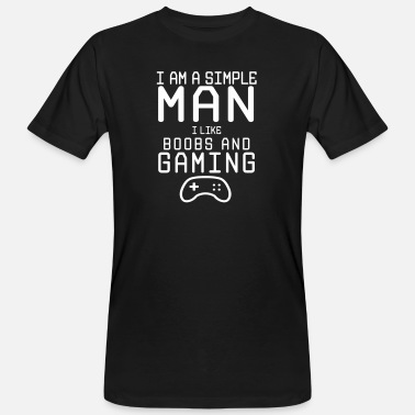 Ron Swanson i am a simple man i like boobs and gaming - Männer Bio T-Shirt