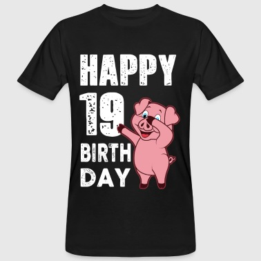 19 years - happy birthday - piggy - Men's Organic T-shirt