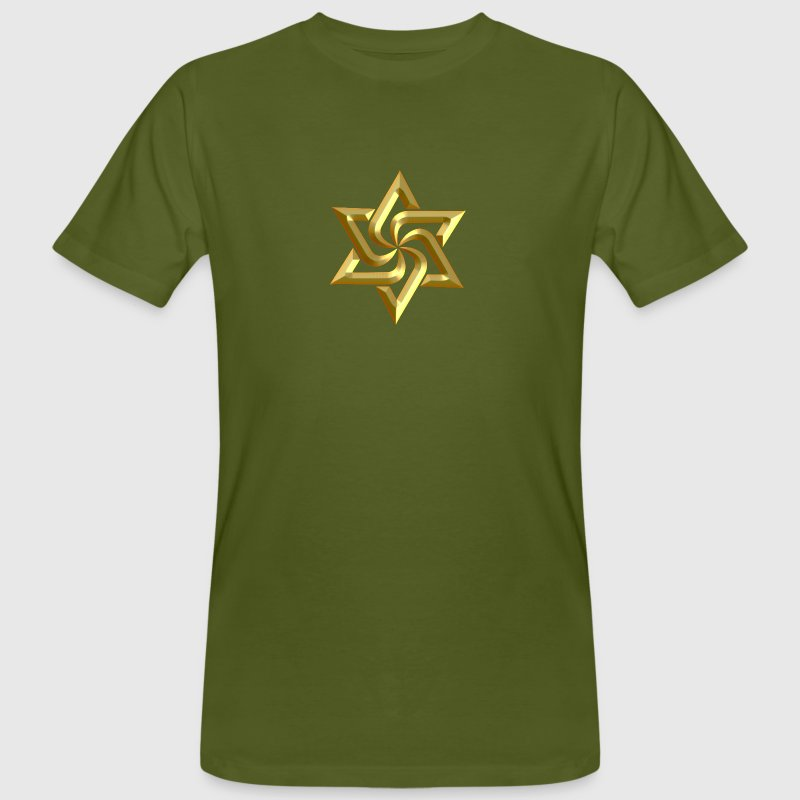 Rael Star, digital gold, variant of Swasika (Svasti - happiness, Salvation) - happiness symbol - Men's Organic T-shirt