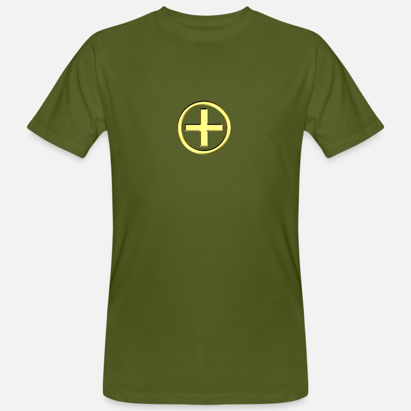3d T-Shirts - POSITIVE! Energy Symbol, gold, digital, symbol, symbols, powerful, force, sign, icon - Men's Organic T-Shirt moss green