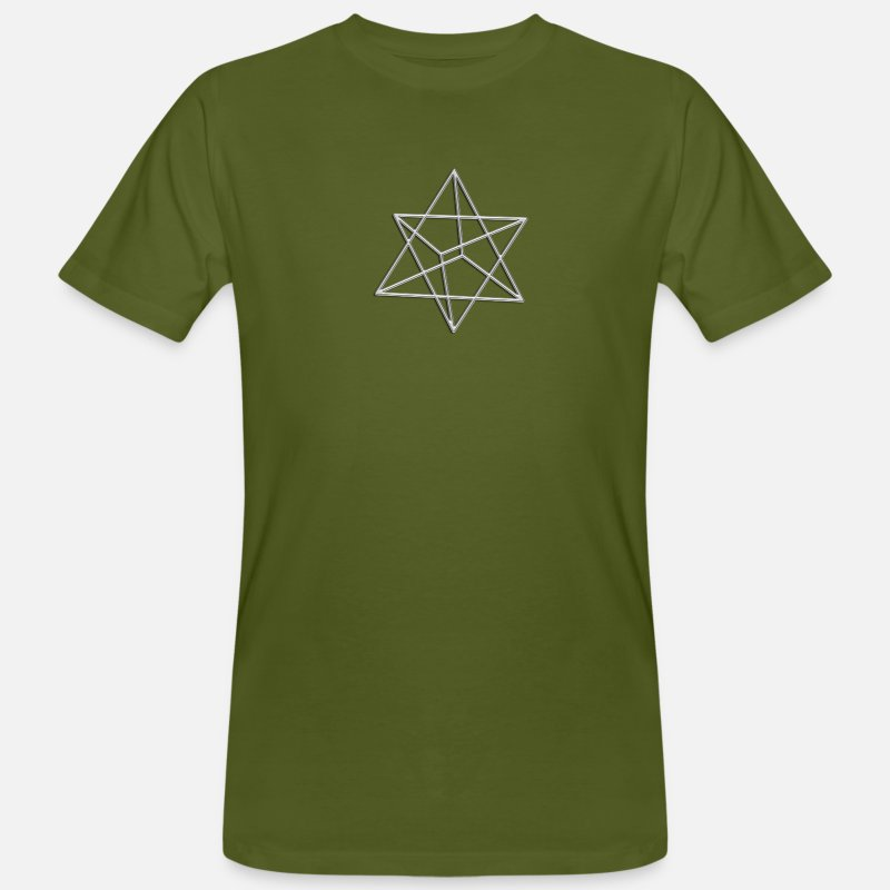 Buddhism T-Shirts - Merkaba, 3D, silver, divine light vehicle, sacred geometry, star tetrahedron, flower of life - Men's Organic T-Shirt moss green