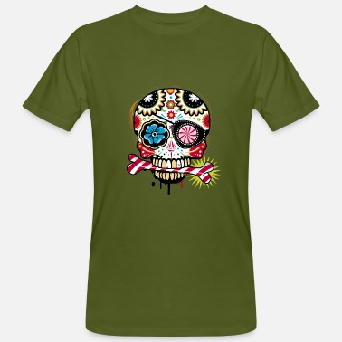 Eye Candy Skull with eye patch and candy cane - Men's Organic T-Shirt