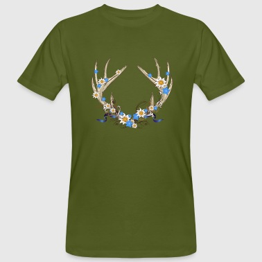 Deer antlers with gentian and edelweiss - Men's Organic T-shirt