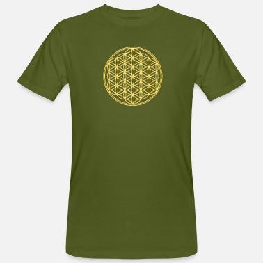 Flower Of Life FEEL THE ENERGY, Flower of Life, Gold, Sacred Geometry, Protection Symbol, Harmony, Balance - Mannen Bio-T-shirt