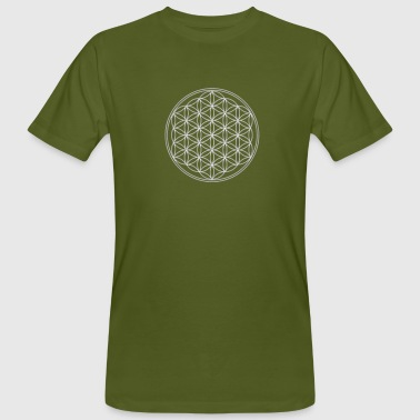 Buddha Feng Shui Flower of Life - FEEL THE ENERGY, Silver, Sacred Geometry, Protection Symbol, Harmony, Balance - Men's Organic T-Shirt