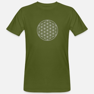 Melchizedek Flower of Life - FEEL THE ENERGY, Silver, Sacred Geometry, Protection Symbol, Harmony, Balance - Men's Organic T-Shirt